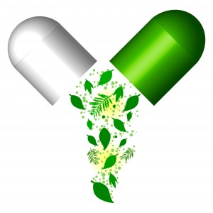 Green Capsule- Herbal Medical Concept