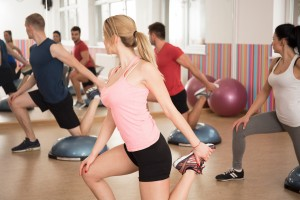 Exercise with bosu balance trainer